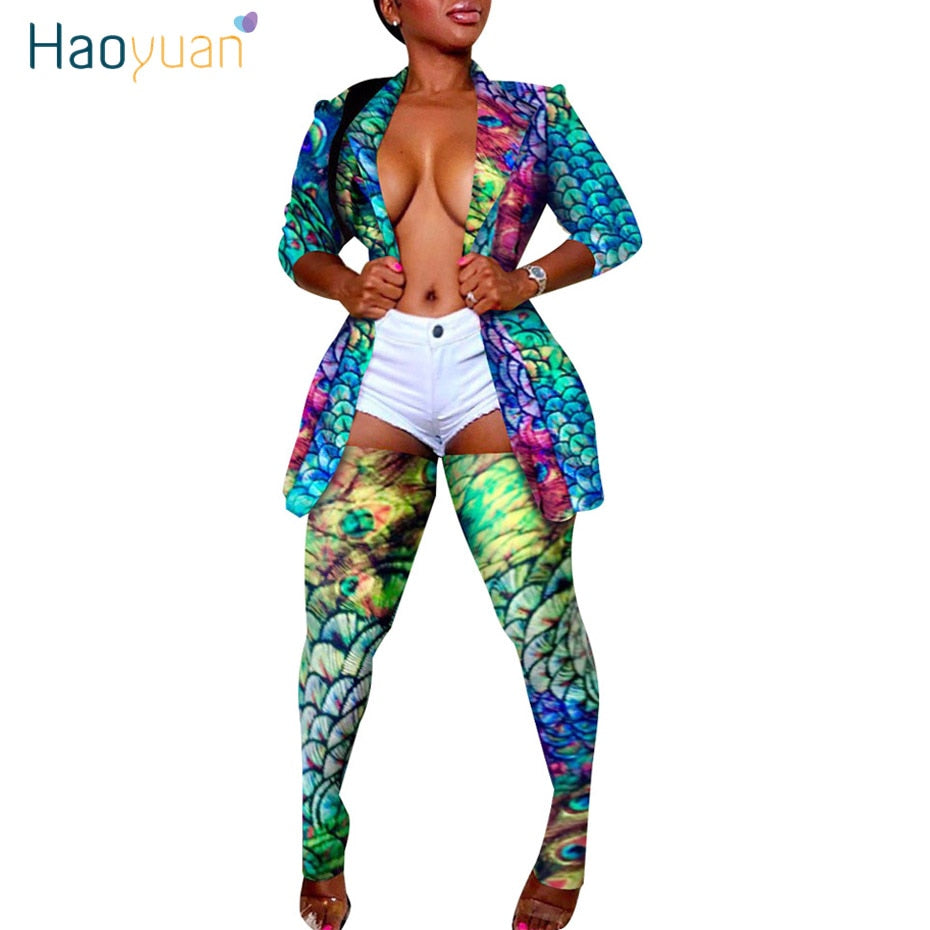 HAOYUAN Plus Size Camo Leopard Two Piece Set Women Rave Festival Top Pant Fall 2 Piece Matching Sets Sexy Birthday Club Outfits