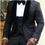 Latest Coat Pant Designs 2019 Custom Made Velvet Lapel Tuxedo Men Groom Suit Man Wedding Best Man Blazer (Jacket+Pants+Vest+Bow)