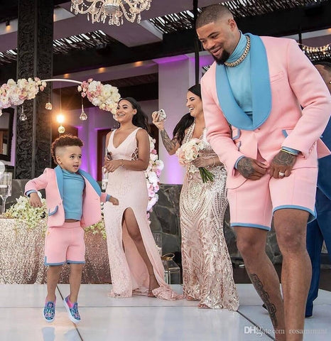 Blue and Pink Groomsmen Suit Peak Lapel Groom Tuxedos Mens Wedding Suits Wedding/Prom/Beach/Dance Best Man Blazer Tux