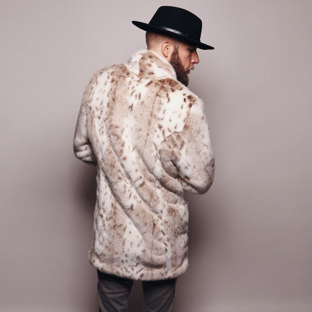 Mens Leopard Plus Thickening Long Coat Warm Thick Fur Collar Coat Jacket Faux Fur Parka Cardigan male fashion gentleman Style 8