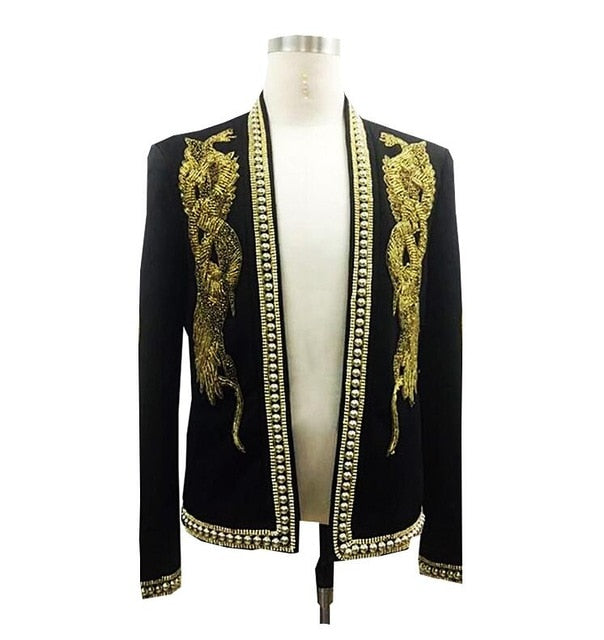 Hand-Made Fashion Men Blazers Suits Jacket Flat Collar Suit Wedding Royal Gown Gold Beaded Slin Fit Suits Male Party Groom