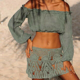 Casual Beach Style Off-shoulder Blouse Summer Sexy Long Sleeve Crop Top