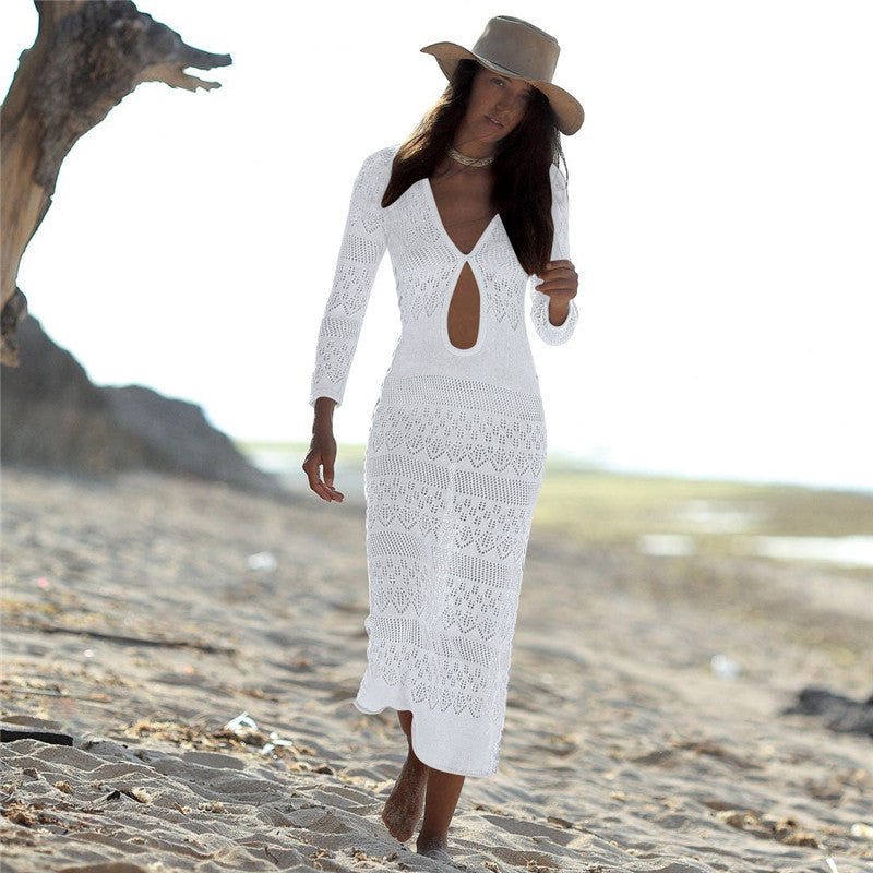 For The Sea And Beach Cover-Ups Woman Swimwear Women Cover Up Summer Dress New Sexy Hollow Knitted Swimsuits With Skirt Bikini