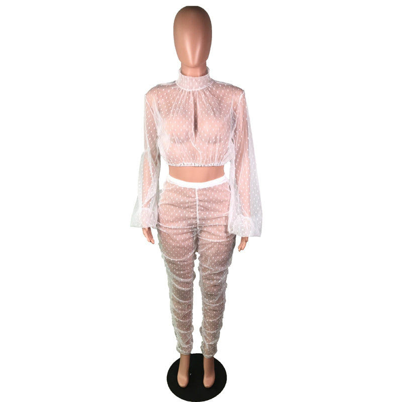 HAOYUAN Sexy Dot See Through Sheer Mesh Two Piece Set Crop Top and Pant  Matching Suits Party Club Birthday Outfits for Women