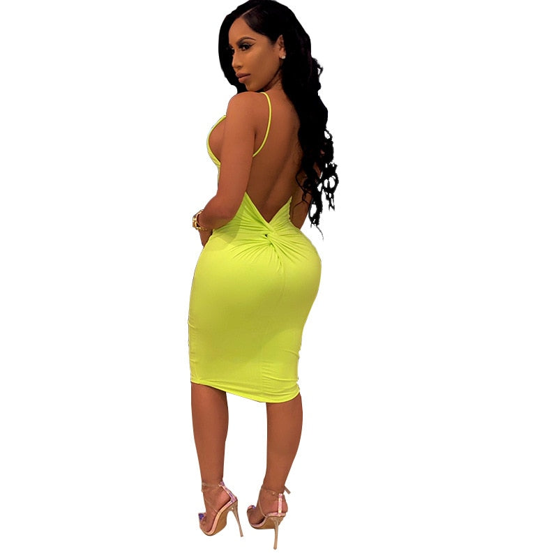 beach dresses and tunic Strap Sexy Basic Party Neon Club Dress for Women Vestidos Casual Solid Sleeveless Bodycon Dresses Summer