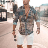INCERUN Print Men Shirt Long Sleeve Vintage Ethnic Style High Street Beach Camisa Chic Breathable Hawaiian Men Brand Shirts