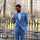 New Custom-made Light Blue Men Suits 2 pieces (Jacket + Pants) slim Fit Groom Prom Tuxedo Summer Style Blazer For Men