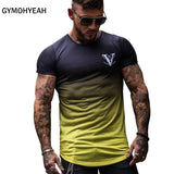Gradient color Fashion T Shirt Men Fast compression Breathable Mens Short Sleeve Fitness Mens t-shirt Gyms Tee Tight Casual Top