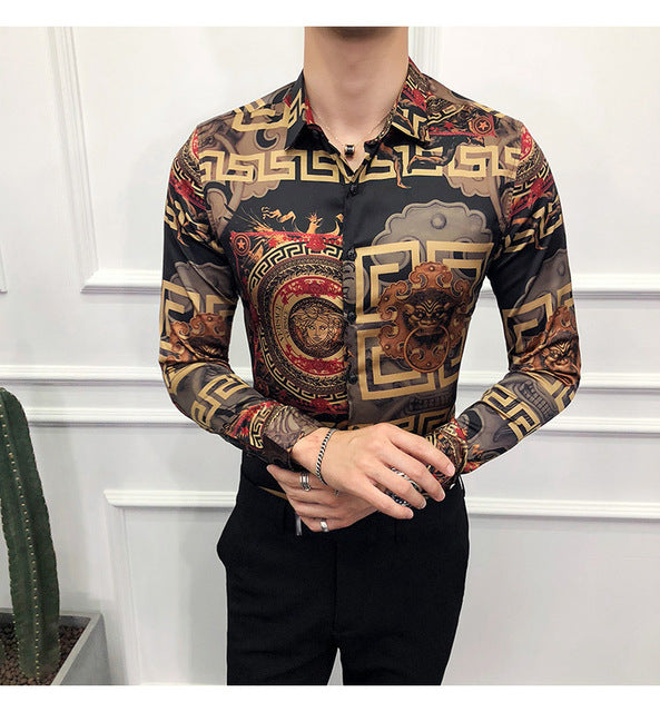 Shirt Men Camisa Masculina Long Sleeve Four Slim Fit Casual Shirts Summer Brand New Mens Club Social Top