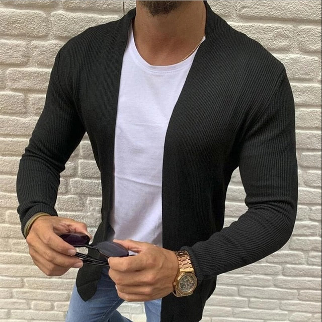 Brand Summer Spring Korean Style Men Slim Fit Knitted Sweater Cardigan Male Long Sleeve Strip Blouse Sweater Plus Size