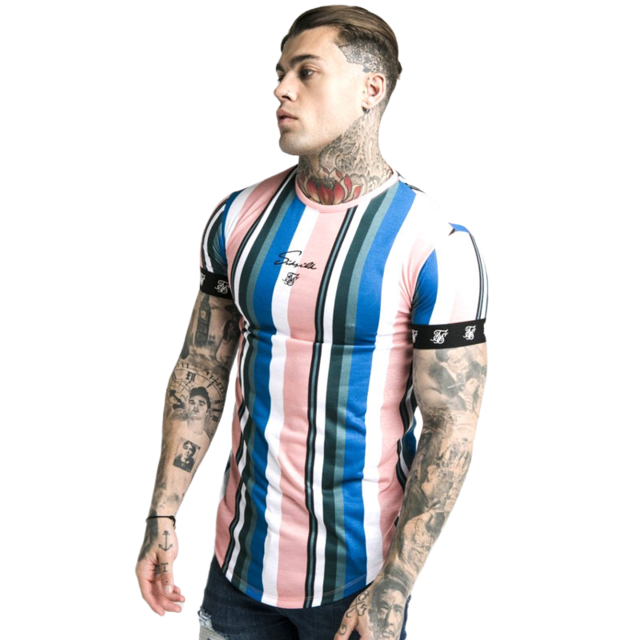 new  Summer  Short sleeve t shirt Men Fitness Slim Street Blue T-shirt Sik silk Gyms Tees Tops Summer Fashion