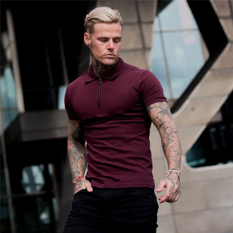 Mens Summer Solid Polo Shirt Short Sleeve Slim Fit Polos Fashion Streetwear Tops Men Cotton Fitness Sports Casual Golf Shirts