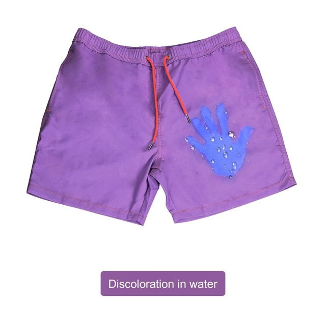 Summer Men Swimming Trunks Change Color Beach Shorts Drawstring Quick Drying Bathing Swimwear Short Pants S-XXL