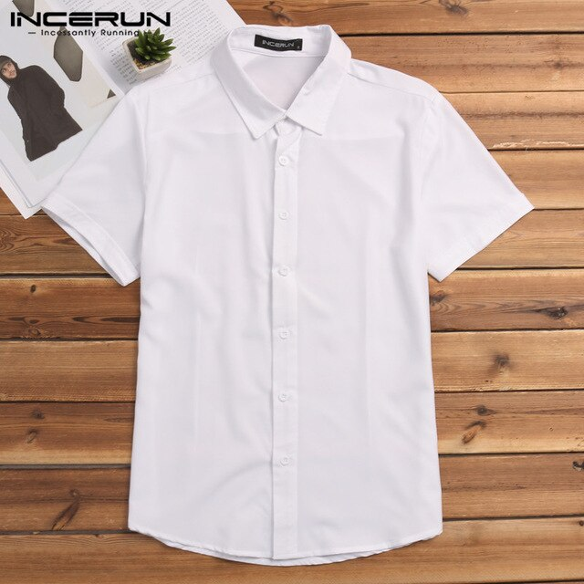 INCERUN Summer Fashion Men Shirt Short Sleeve Solid Slim Men Casual Business Shirts Party Streetwear Muscle Tops Camisa S-5XL