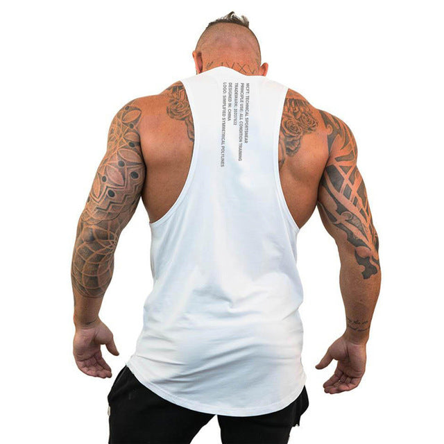 Brand Casual Fashion Clothing Bodybuilding Cotton Gym Tank Tops Men Sleeveless Undershirt Fitness Stringer Muscle Workout Vest