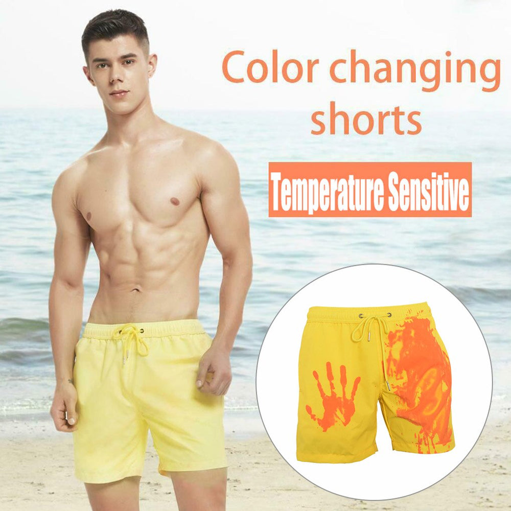 Summer Men's Fashion Swimming Trunks Magical Change Color Quick-drying Swimming Shorts Beach Shorts