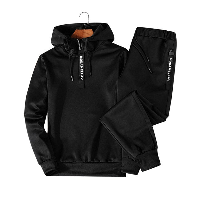 Sets Tracksuit Men Autumn Winter Hooded Sweatshirt Drawstring Outfit Sportswear  Male Suit Pullover Two Piece Set Casual
