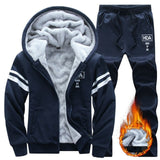 Causal Tracksuits Men Set hooded Thicken Fleece Hoodies + Sweatpant  Winter Spring Sweatshirt Sportswear Male Letter Print