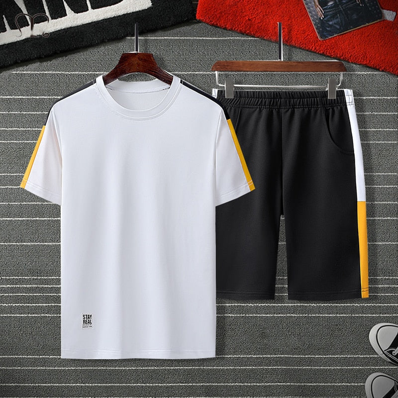 Summer Men Set Sportswear Fashion  Mens Clothing Black White T Shirts Shorts Casual Tracksuits Male Track Suit Plus Size 4XL