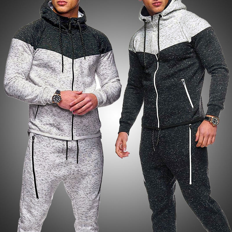 Autumn Men's Sport Suits Zipper Hoodie Running Sets Male  Casual Hooded Tracksuits Clothes Man Joggers Fitness Training Set
