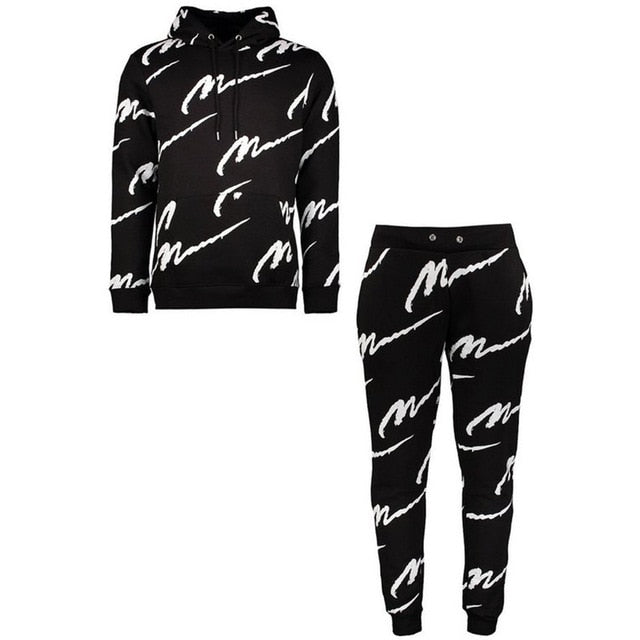 New Autumn/Winter fashion  men's sets  hooded sets printed casual suit sports suit men joggers tracksuit men