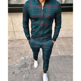 New Men's Leisure Suits Tracksuits Men Grid Two-piece Patchwork Zipper Tracksuits Small leg Trouser Sportswear  New Man Sets