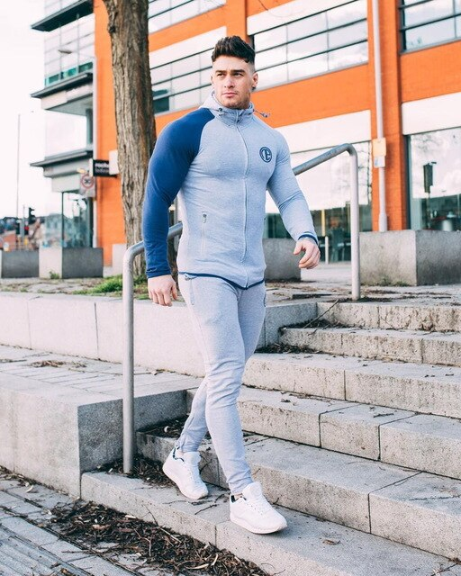 Muscle Captain Brother Fitness Suit Men's Suit Tights Men's Long Sleeve Running Winter Training Clothes Gym Sweatshirt Sudadera
