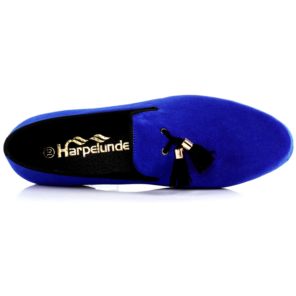 Mens Shoes Casual Blue Velvet Loafers Shoes Tassel Flats