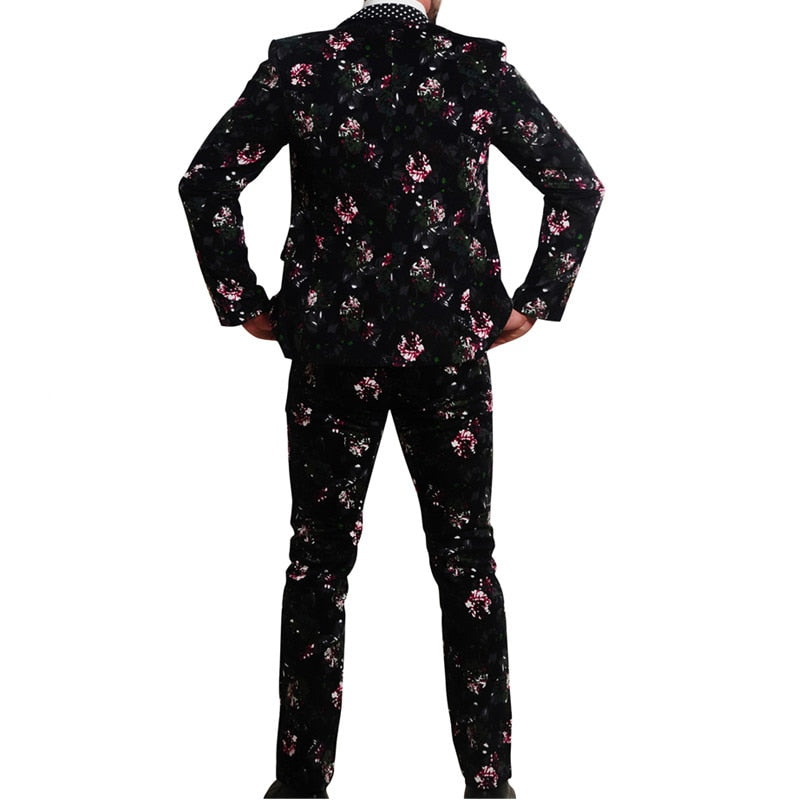 New Two Piece Men Suits Floral Print Cotton Fabric Men Suits Slim Fit Fashion Stylish Suits in Mens Clothing