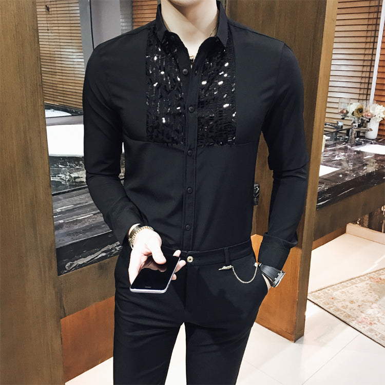 Mens Sequin  Shirts Black White Sequin Shirt Long Sleeve Marriage Prom Club Banquet Shirt Camisa Social Masculina Slim Fit