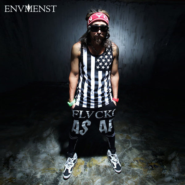 Men Cotton Tank Tops Vest Men' Sleeveless Top Tees Star Stripped Printed