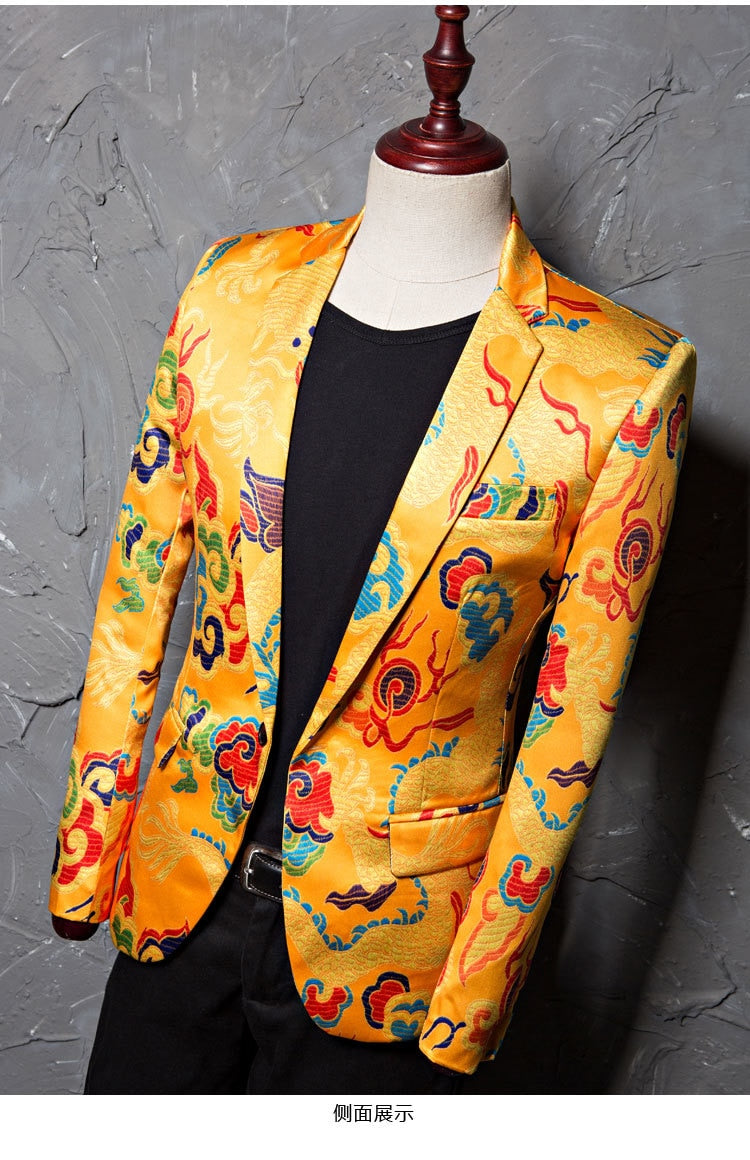 Brand Tide Mens Golden Chinese Style Dragon Pattern Digital Print Suit Jacket Wedding Party Nightclub Stage Blazer