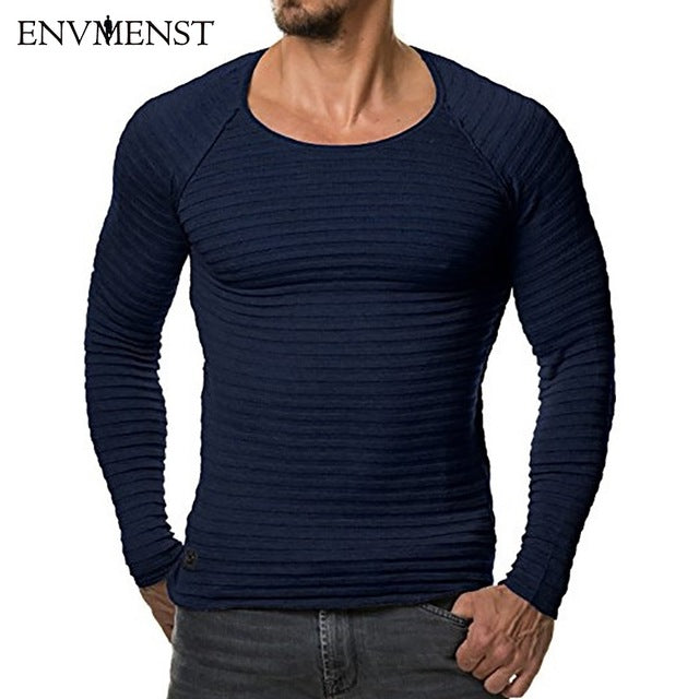 Men's 3D Striped T shirt Long Sleeves O neck Hip Top Tees