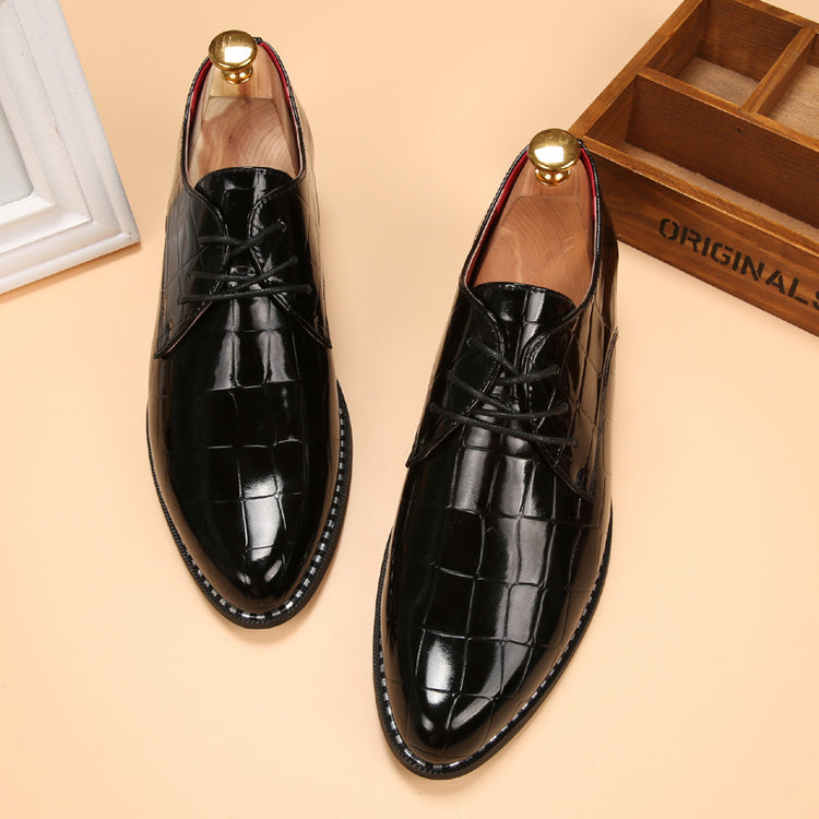 Mens Casual Leather Shoes Party Oxford British Patent Leather Wedding Shoes