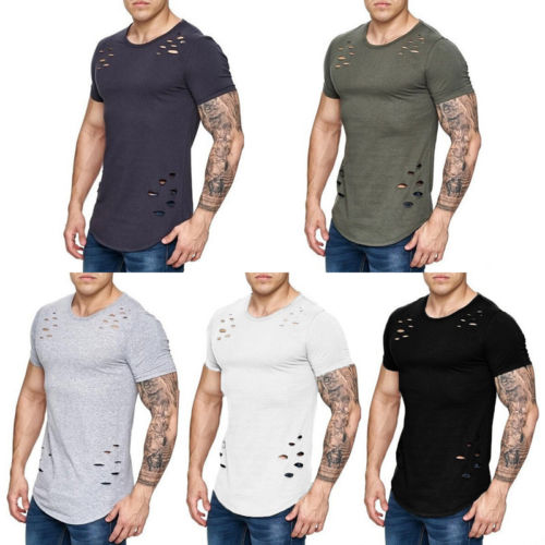 Men Simple and comfortable T-shirts Muscle Brothers Short Sleeve Hole O-Neck Top shark Jersey