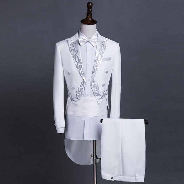 Male Gold Silver Embroidery Lapel Tail Coat Stage Singer Groom Black White Wedding Tuxedos For Men Costume Homme