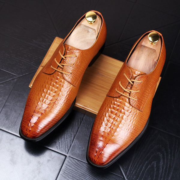 Men'S Dress Shoes Crocodile Pattern Wedding  Shoes Men'S Genuine Leather