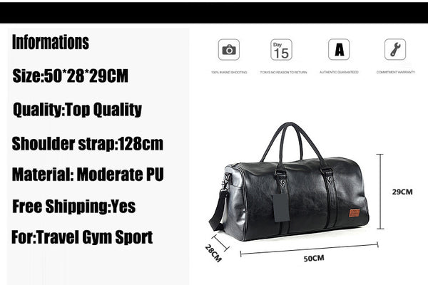 Quality PU Unisex Sport Gym Bag For Men Women with Independent shoes Travel Training Fitness Bag Portable Shoulder Bag
