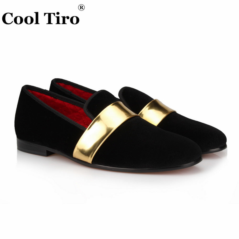 cb0e207273e Black velvet Handmade with Gold Patent Leather Buckle Fashion Loafers Party  and wedding dress shoes men ...