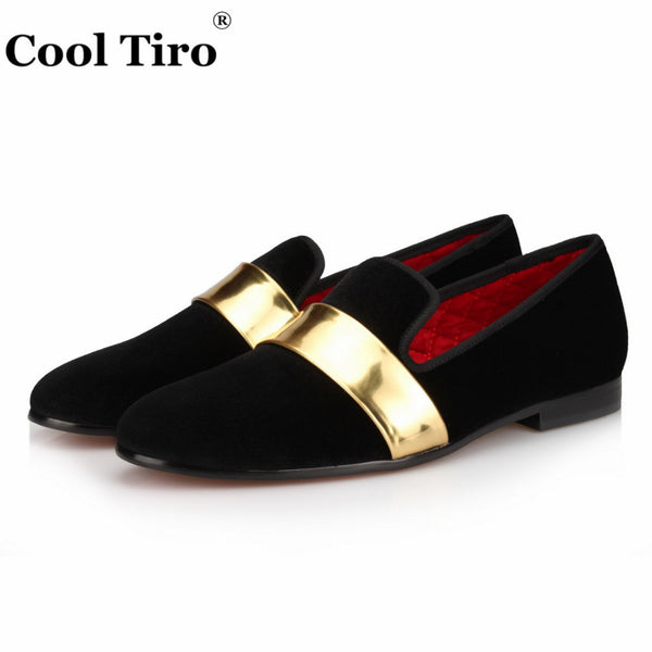 Black velvet Handmade with Gold Patent Leather Buckle Fashion Loafers Party and wedding dress shoes men flat