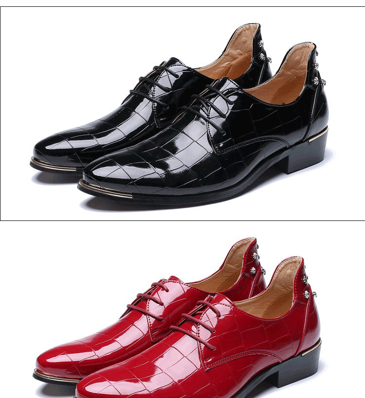 Oxfords Men Height Increasing Business Shoes Top Patent Leather Pointed Toe