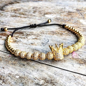 New Zircon Bracelets Men Jewelry Cubic Micro Pave CZ Crown Charm & 4mm Round Beads Braided Macrame Bracelet pulseira feminina