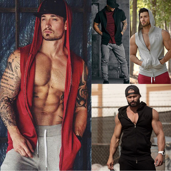 Men's Stitching Solid Hooded Casual Slim Fit Short Sleeve  Muscle Top Men Casual Sleeveless Hoodies Tops Sweatshirts Clothing