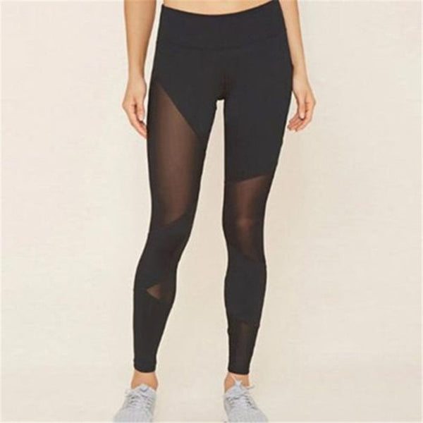 Sexy Women Patchwork Mesh Leggings Summer Bandage High Waist Fitness Stretch Leggings Trousers