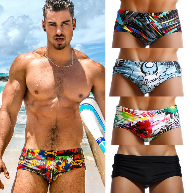 Pack of 4 Swimwear Men Swimsuits Swim Boxer Briefs Bikini Swimming Surf Board Shorts
