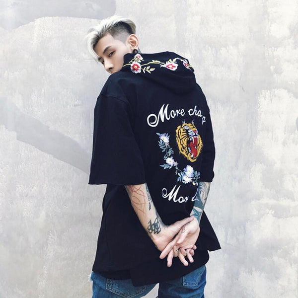 Summer Autumn Half Sleeve Hip Hop T Shirt Cotton Loose Embroidery Hooded T-shirt Men High Quality Us size