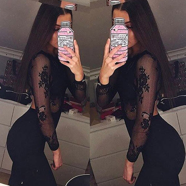 Womens Party Jumpsuit Ladies Lace Long Jumpsuit Backless Long Sleeve Sexy Perspective ne Piece Rompers Macacao Feminino