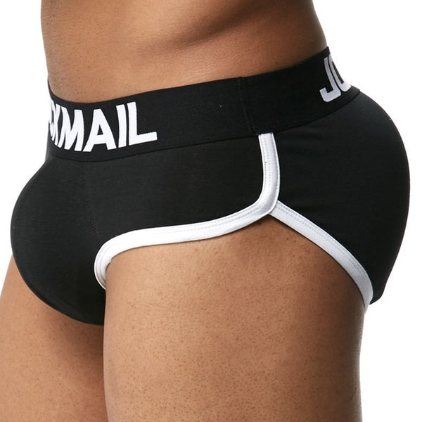 Enhancing Mens Underwear Briefs Sexy Bulge Gay Penis pad Front + Back Magic buttocks Double Removable Push Up Cup