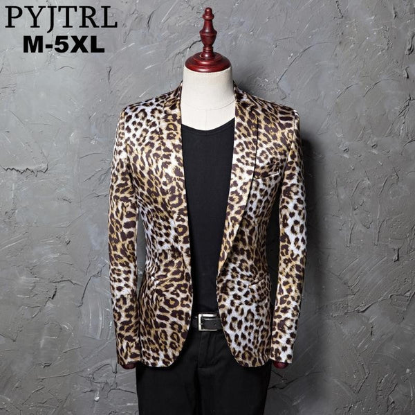 Men Leopard Print Fashion Leisure Blazer Masculino Slim Fit Suit Jackets For Men Singer Costume Homme