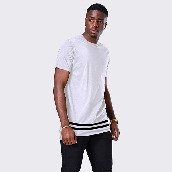 Streetwear Men t shirt extended longline hipster t shirt men stripes t shirt Homme Long Line T shirt with Striped Hem